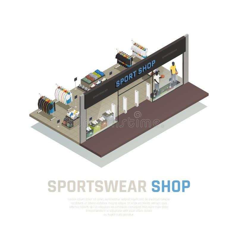 Illustrazione isometrica del negozio di usura di sport illustrazione di stock