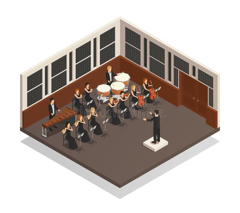 Illustrazione isometrica dell'orchestra royalty illustrazione gratis