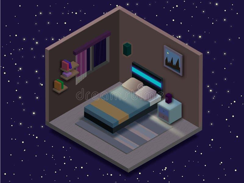 Illustrazione isometrica della camera da letto Illustrazione piana di vettore royalty illustrazione gratis