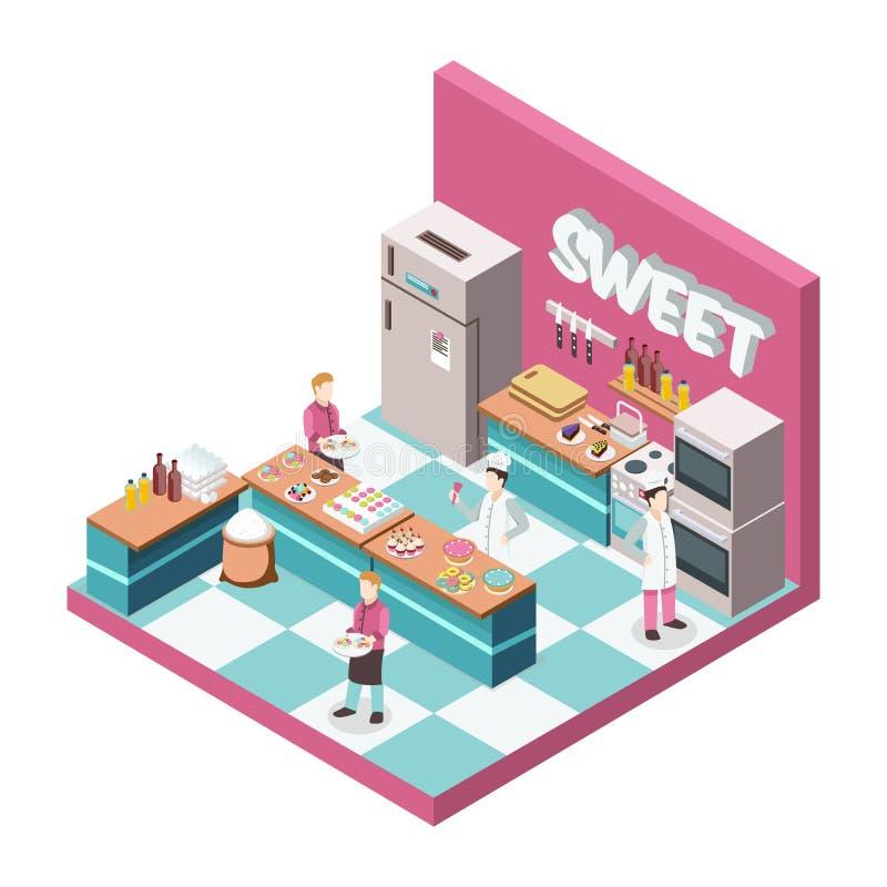 Illustrazione isometrica della cucina dolce del negozio illustrazione vettoriale