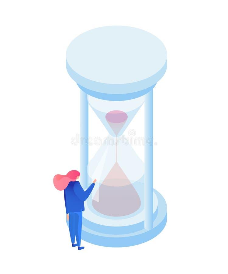 Illustrazione isometrica della metafora dello scorrere del tempo illustrazione di stock