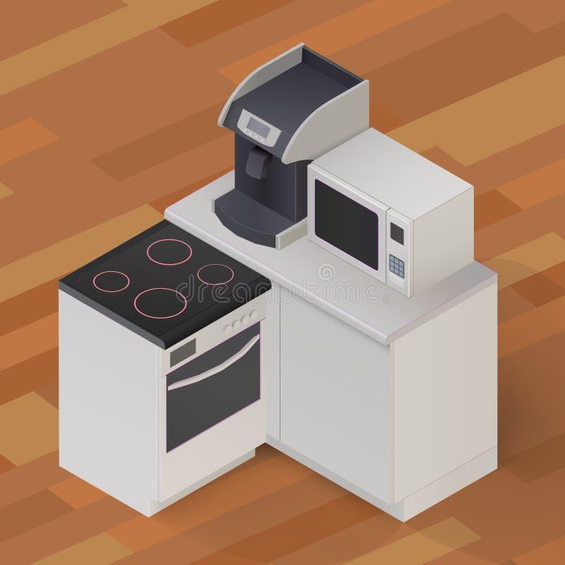 Illustrazione isometrica della roba di cucina illustrazione vettoriale