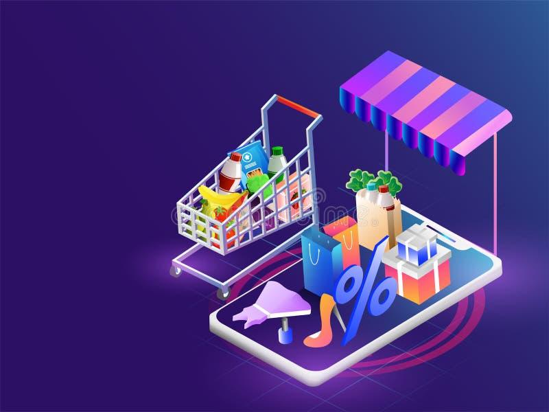 Illustrazione isometrica dello smartphone con il equi multiplo di acquisto royalty illustrazione gratis