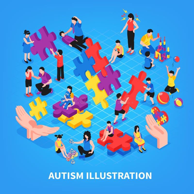 Illustrazione isometrica di autismo illustrazione vettoriale