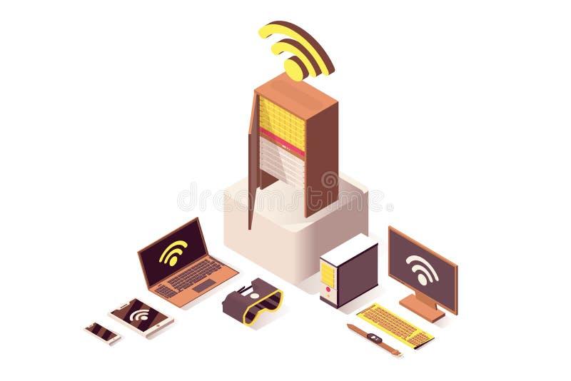Illustrazione isometrica di calcolo di vettore della nuvola Server di Internet, online ospitare, attrezzatura del hardware e IoT illustrazione vettoriale
