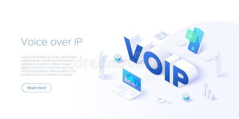 Illustrazione isometrica di concetto di vettore di Voip Voice over ip o fondo di tecnologia di Internet Protocol Software di tele royalty illustrazione gratis