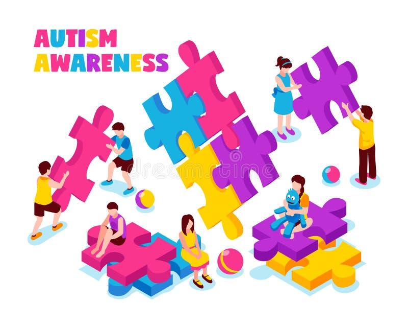 Illustrazione isometrica di consapevolezza di autismo illustrazione di stock
