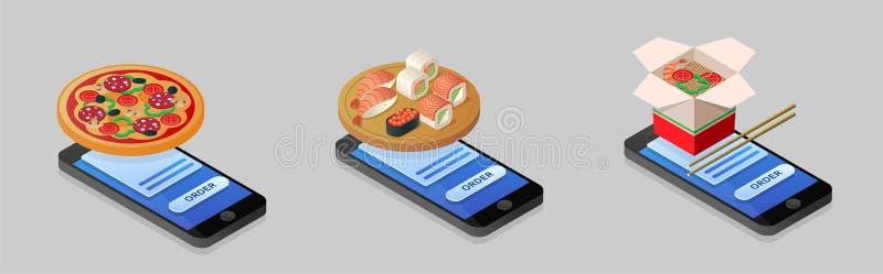 Illustrazione isometrica di pizza d'ordinazione, sushi, tagliatelle facendo uso della s illustrazione vettoriale
