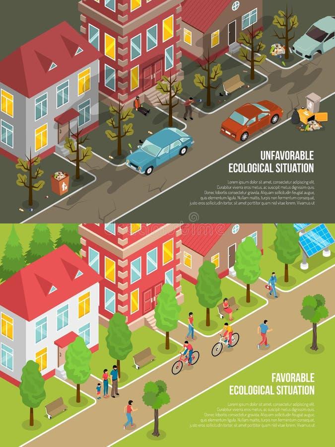 Illustrazione isometrica di situazione ambientale illustrazione vettoriale