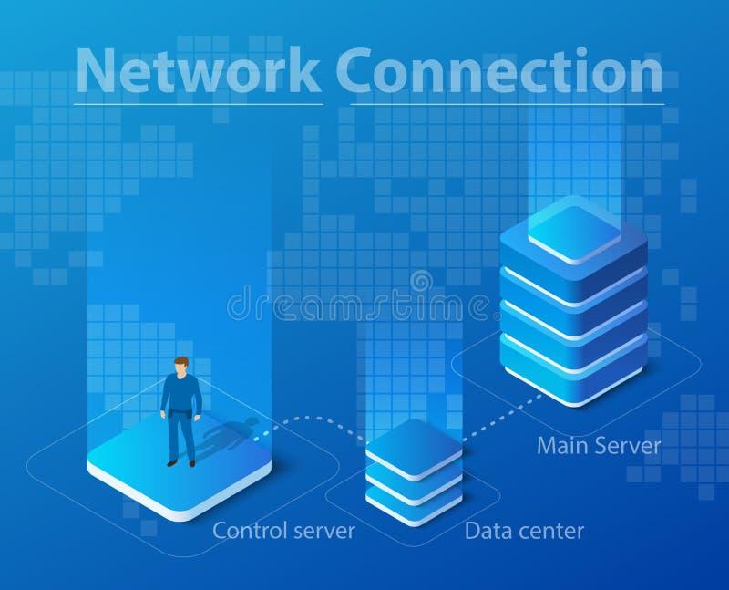 Illustrazione isometrica di tecnologia di rete illustrazione vettoriale