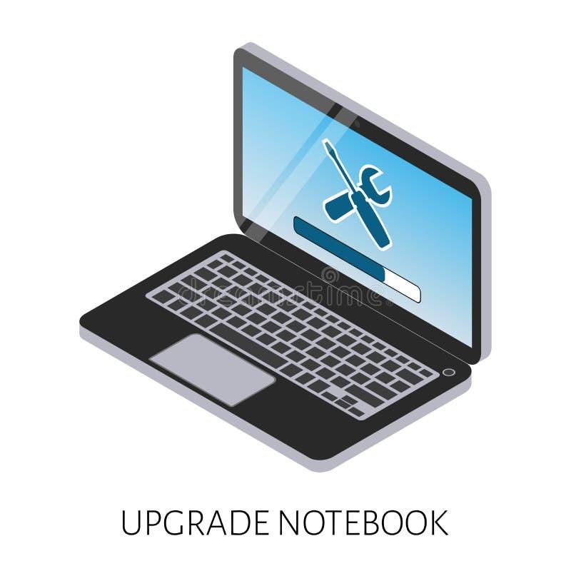 Illustrazione isometrica di un aggiornamento del computer portatile del computer con una riparazione del carico e dell'icona dell illustrazione di stock