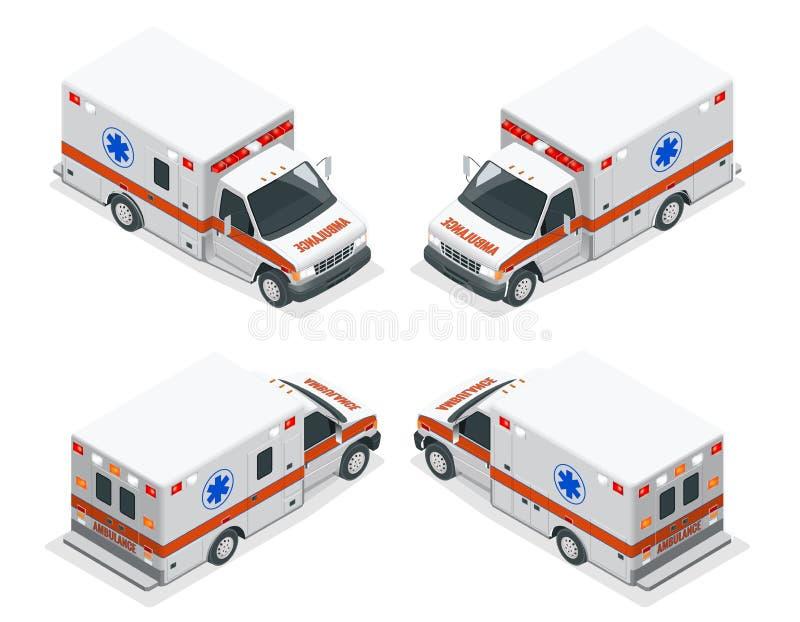 Illustrazione isometrica di van vector dell'ambulanza dell'insieme di trasporto Incidente medico dell'evacuazione di emergenza in illustrazione vettoriale