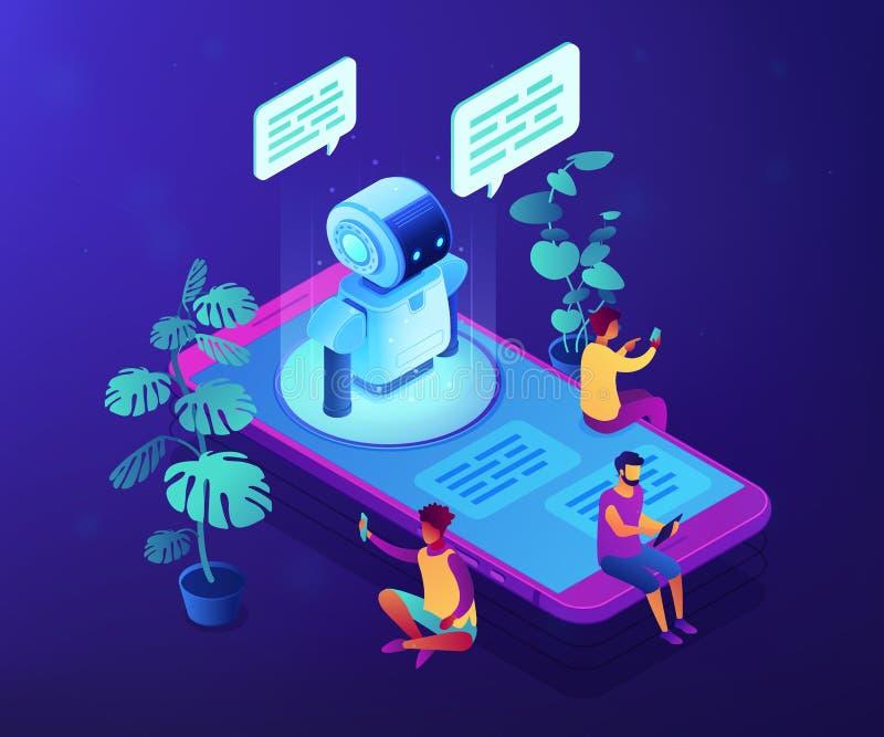 Illustrazione isometrica di vettore di concetto del chatbot del messaggero royalty illustrazione gratis