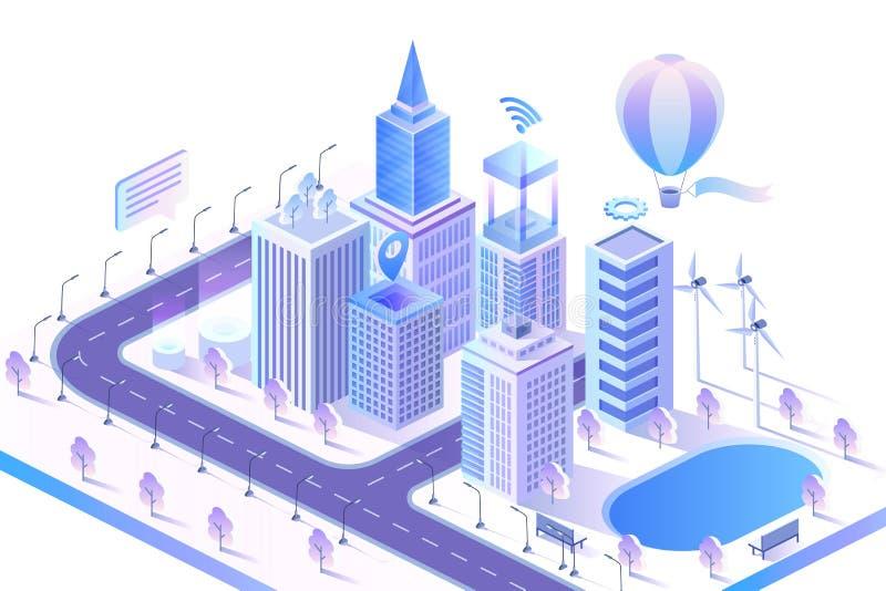 Illustrazione isometrica di vettore di concetto moderno astuto della città royalty illustrazione gratis