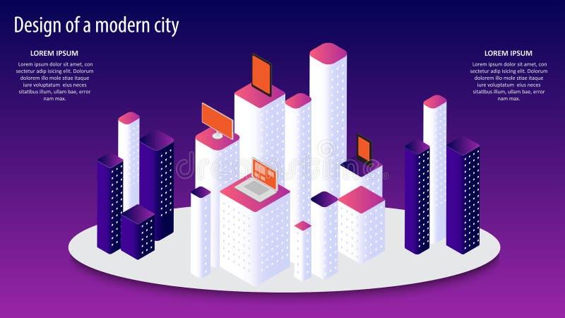 Illustrazione isometrica di vettore 3d di una progettazione moderna della città ENV 10 royalty illustrazione gratis