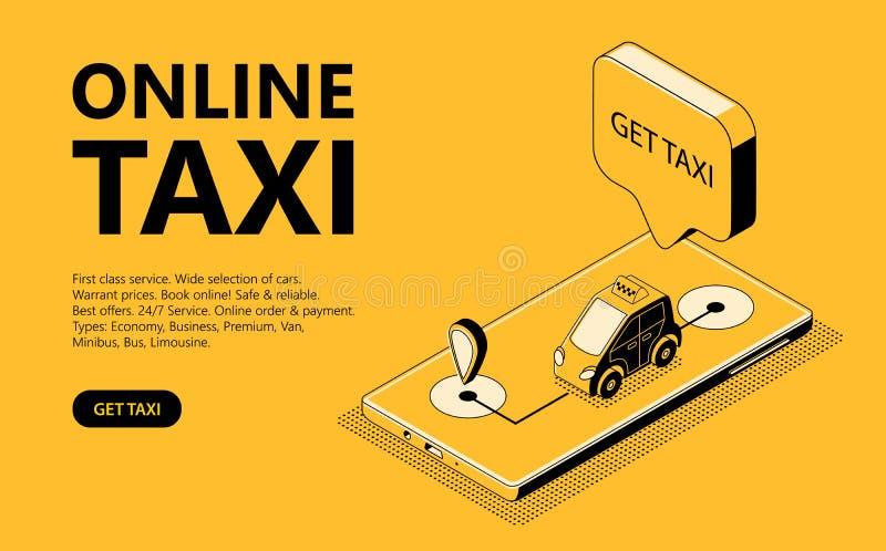 Illustrazione isometrica di vettore del taxi online, pagina Web per la ricezione della carrozza royalty illustrazione gratis