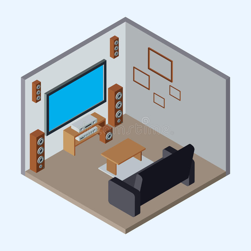 Illustrazione isometrica di vettore del teatro domestico illustrazione vettoriale