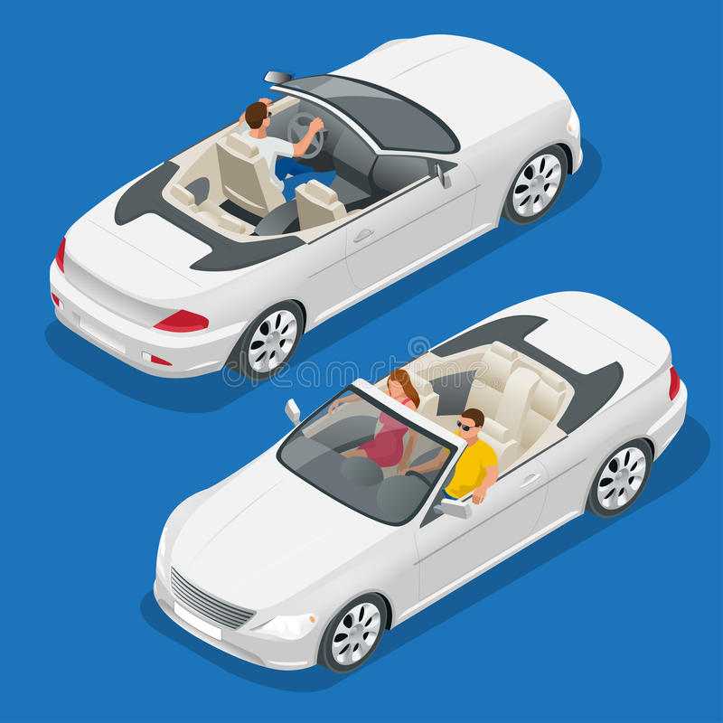 Illustrazione isometrica di vettore dell'automobile del cabriolet Immagine piana del convertibile 3d Trasporto per il viaggio di  illustrazione vettoriale