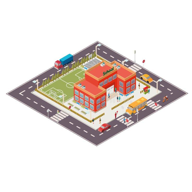 Illustrazione isometrica di vettore dell'edificio scolastico illustrazione di stock