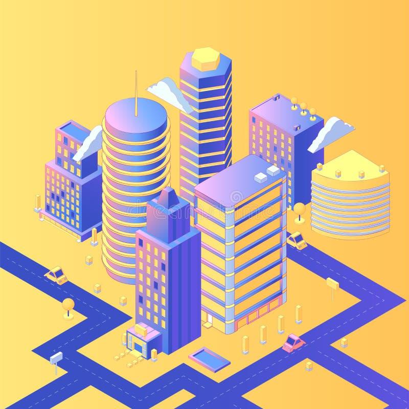 Illustrazione isometrica di vettore della città futuristica illustrazione vettoriale