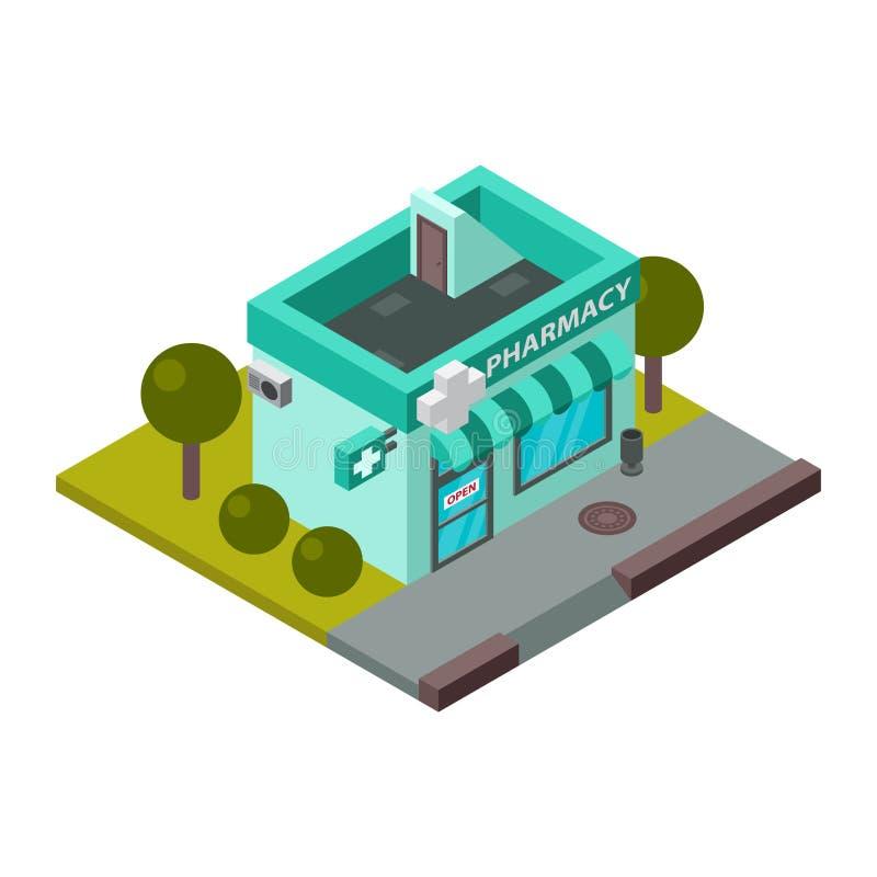 Illustrazione isometrica di vettore della costruzione della farmacia royalty illustrazione gratis