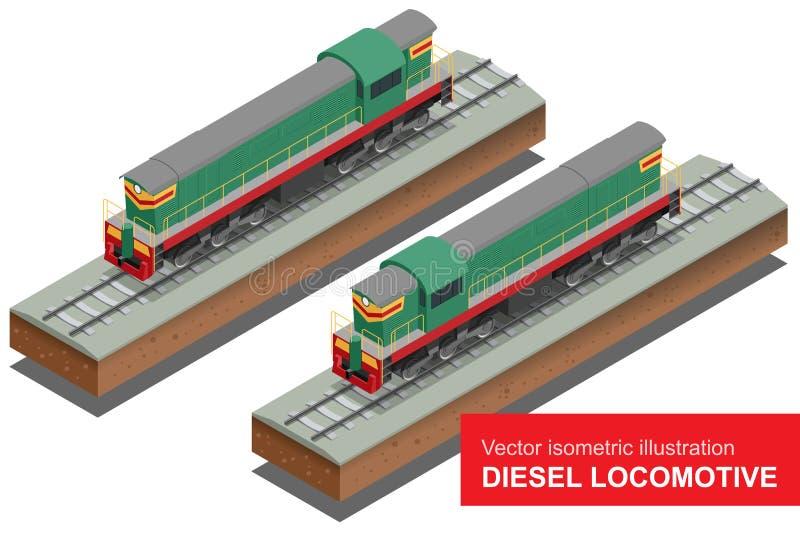 Illustrazione isometrica di vettore di Locomotivel diesel Prepari il vettore piano locomotivo 3d del trasporto ferroviario del tr royalty illustrazione gratis