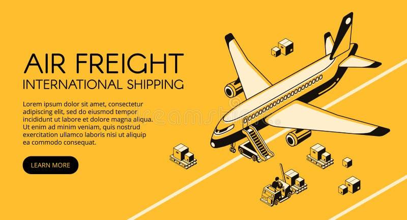 Illustrazione isometrica di vettore di logistica dell'aereo da trasporto illustrazione vettoriale