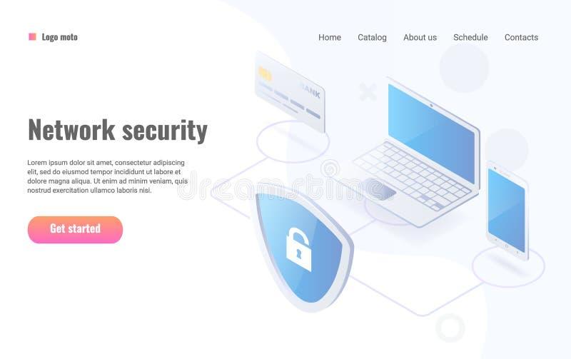 Illustrazione isometrica di vettore di protezione dei dati Disposizione del sito Web di sicurezza della rete royalty illustrazione gratis