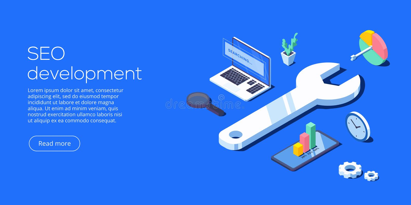 Illustrazione isometrica di vettore di sviluppo di SEO Sito Web o webpag royalty illustrazione gratis