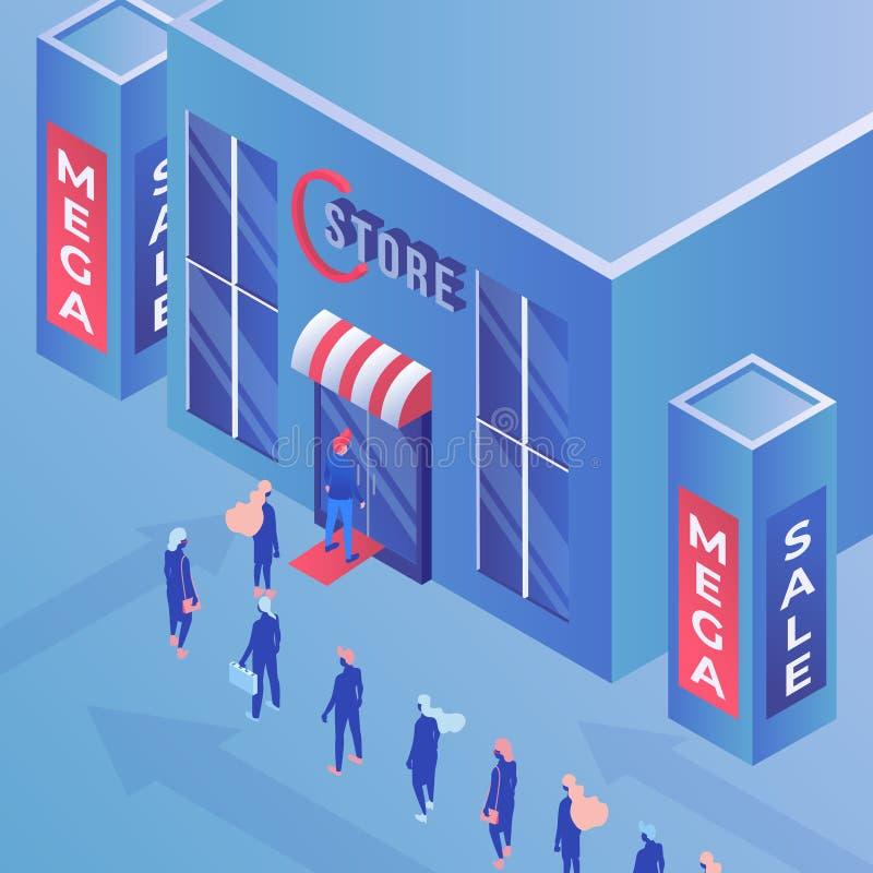 Illustrazione isometrica di vettore di vendita mega del deposito Consumismo, acquisto, pubblicità e vendita, colore di campagna d royalty illustrazione gratis