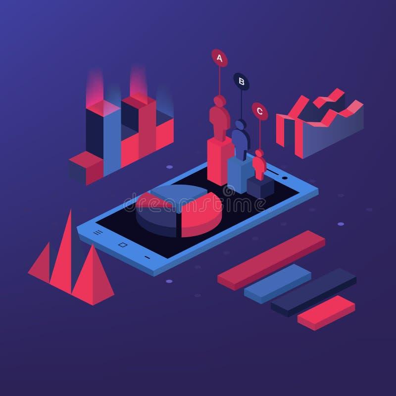Illustrazione isometrica isometry piana mobile di vettore di web di concetto di affari 3d di app dello strumento di analisi di ra illustrazione di stock