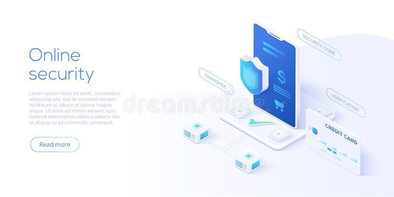 Illustrazione isometrica mobile di vettore di protezione dei dati Payme online illustrazione di stock