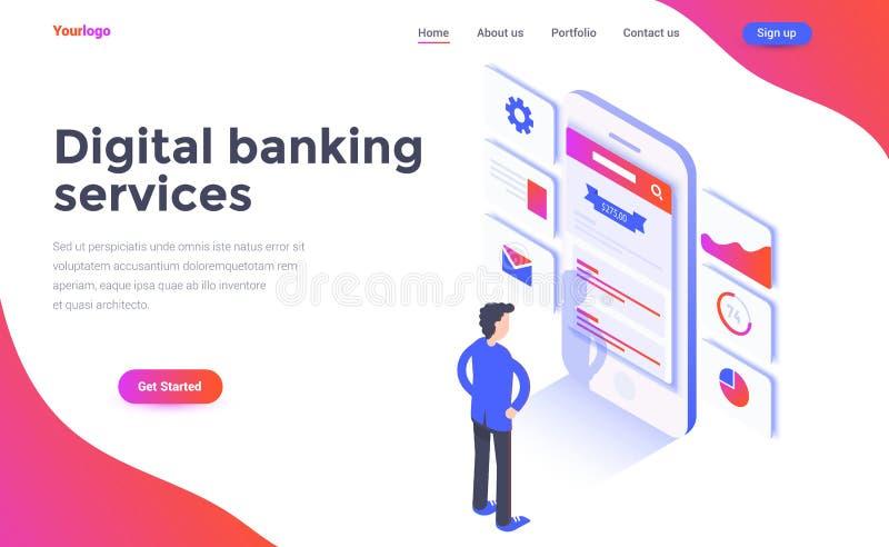 Illustrazione isometrica moderna di concetto di colore piano - Digital Banki illustrazione vettoriale