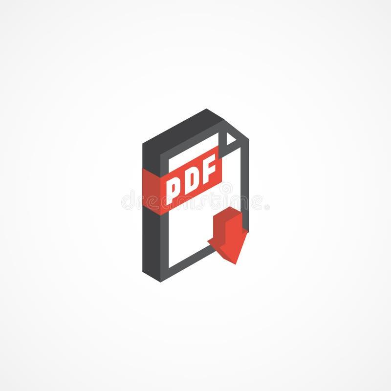 Illustrazione isometrica PDF dell'icona 3d illustrazione vettoriale