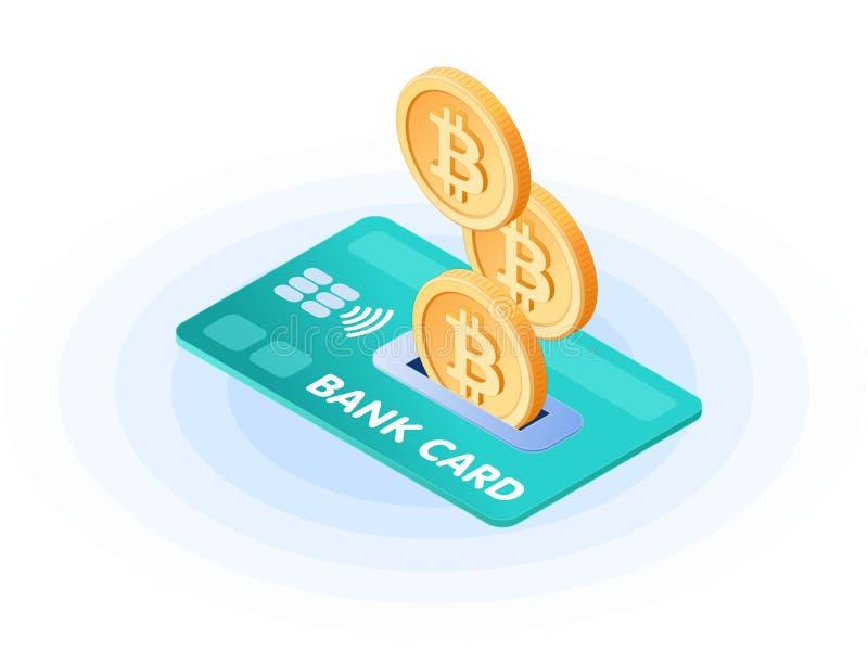 Illustrazione isometrica piana dei bitcoins che droping nella carta di credito royalty illustrazione gratis