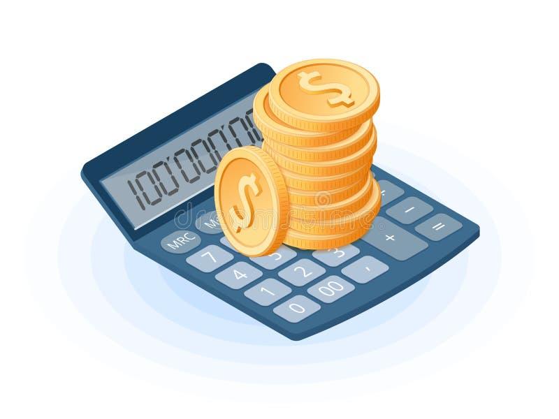 Illustrazione isometrica piana del mucchio delle monete sulla calcolatrice elettronica illustrazione vettoriale