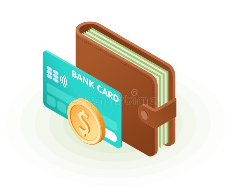 Illustrazione isometrica piana del portafoglio con le banconote, automobile di credito illustrazione di stock