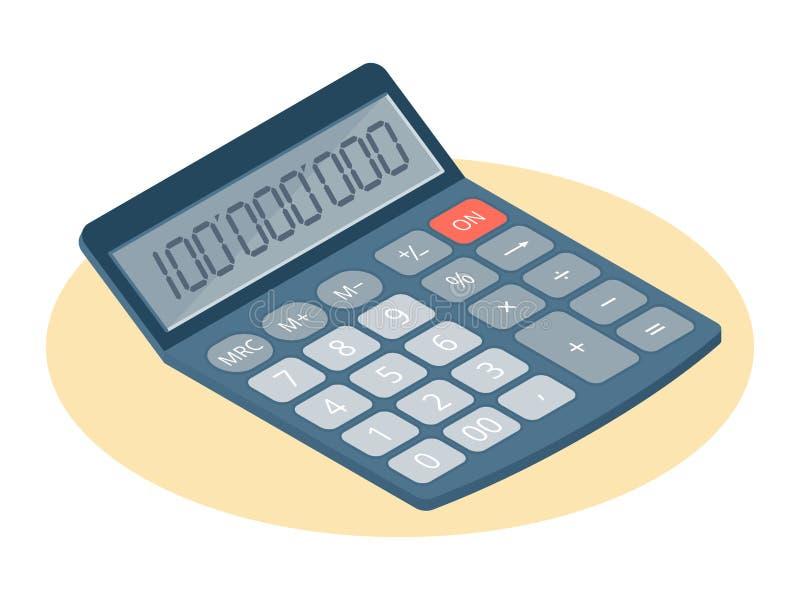 Illustrazione isometrica piana della calcolatrice elettronica Affare w illustrazione di stock