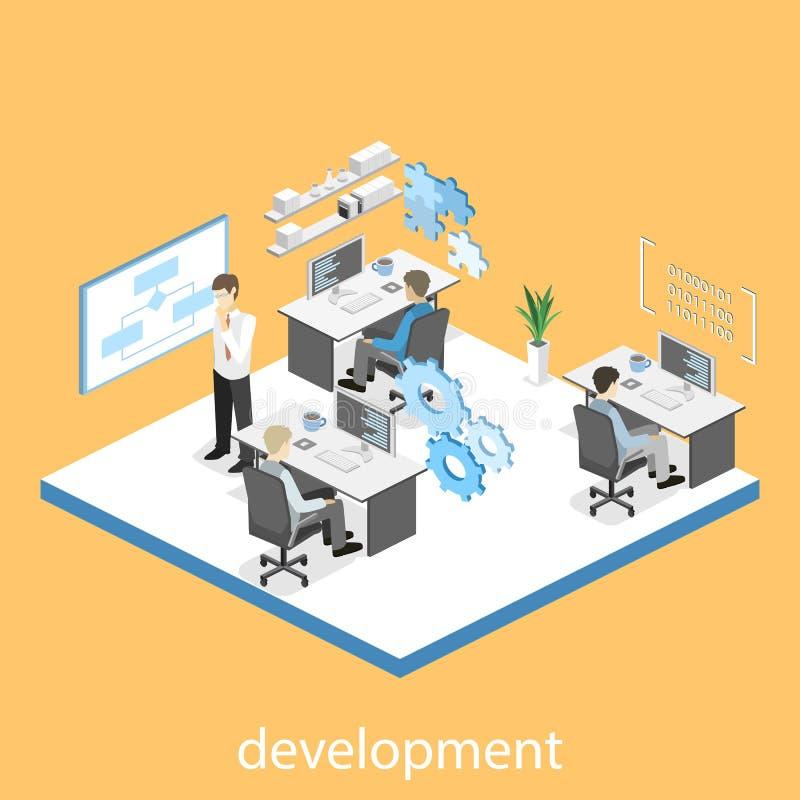 Illustrazione isometrica piana di concetto 3D degli sviluppatori di software dell'ufficio royalty illustrazione gratis