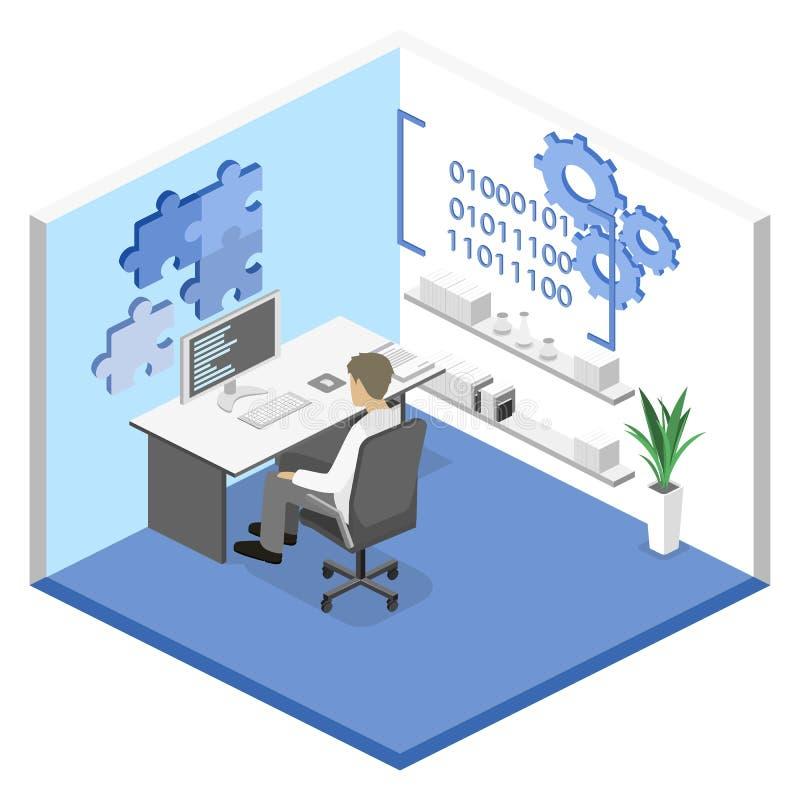 Illustrazione isometrica piana di concetto 3D degli sviluppatori di software dell'ufficio illustrazione di stock