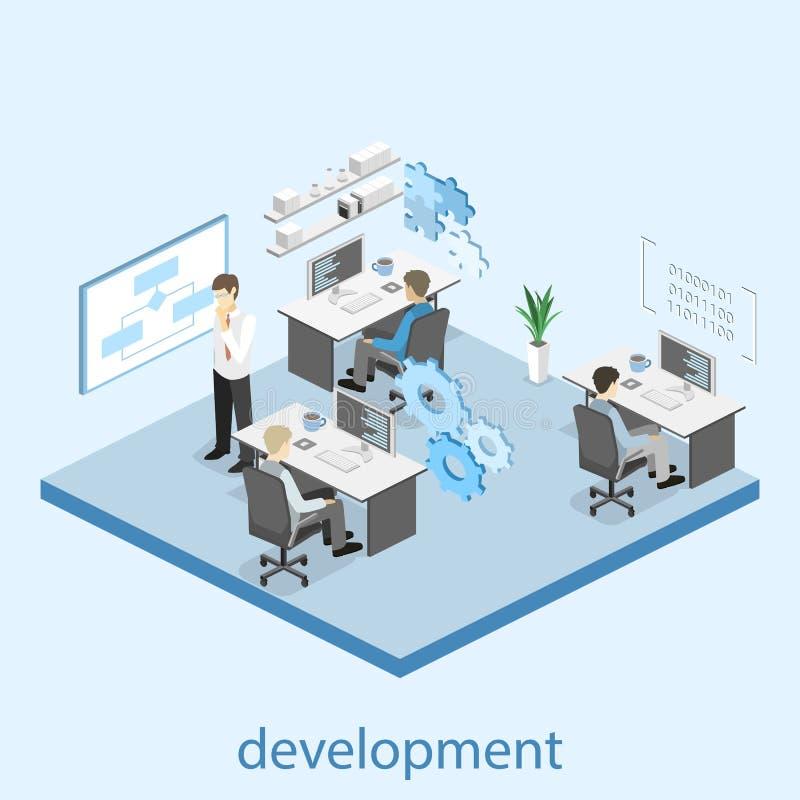 Illustrazione isometrica piana di concetto 3D degli sviluppatori di software e del lavoro di squadra dell'ufficio illustrazione vettoriale