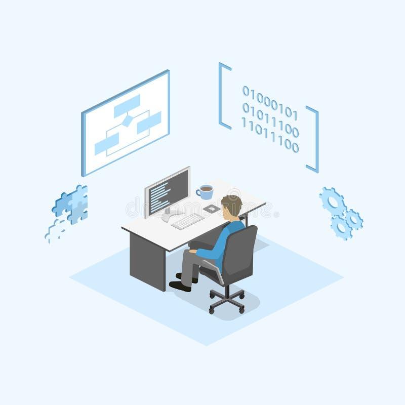 Illustrazione isometrica piana di concetto 3D degli sviluppatori di software e del lavoro di squadra dell'ufficio royalty illustrazione gratis