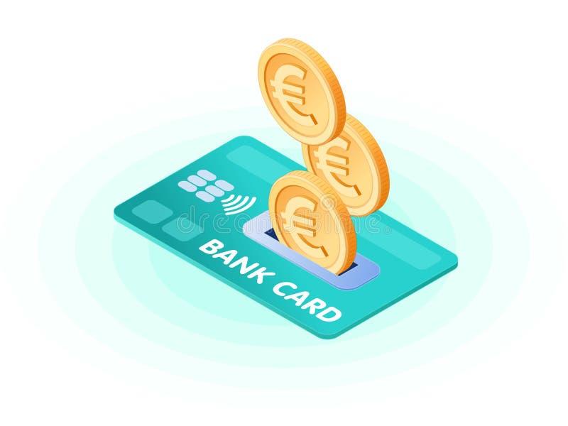 Illustrazione isometrica piana di euro monete che droping nel credito Ca illustrazione vettoriale