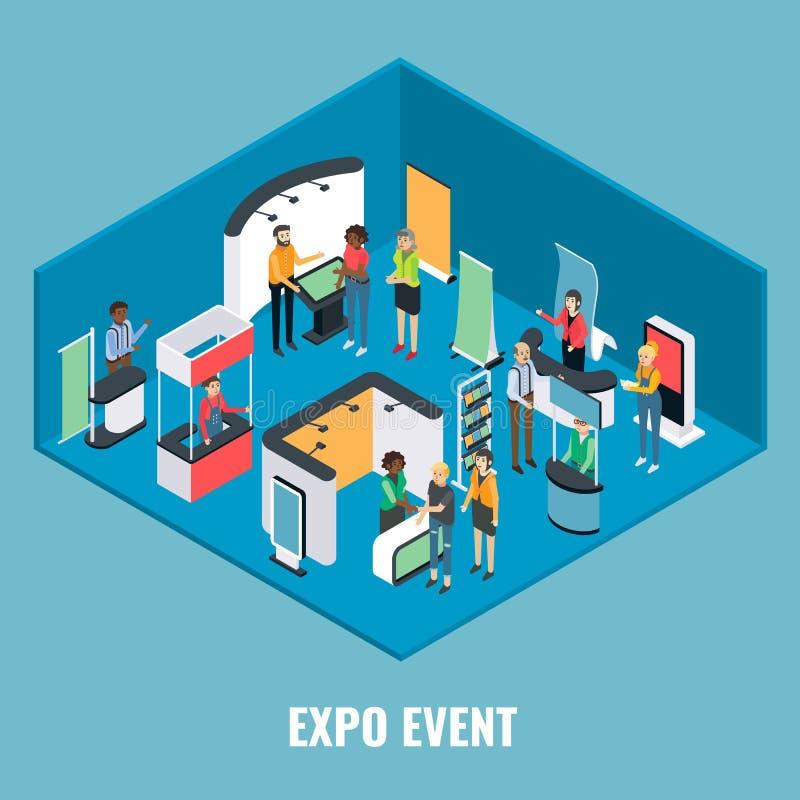 Illustrazione isometrica piana di vettore di concetto di evento dell'Expo illustrazione vettoriale