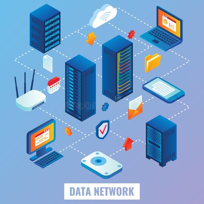 Illustrazione isometrica piana di vettore della rete della nuvola illustrazione di stock
