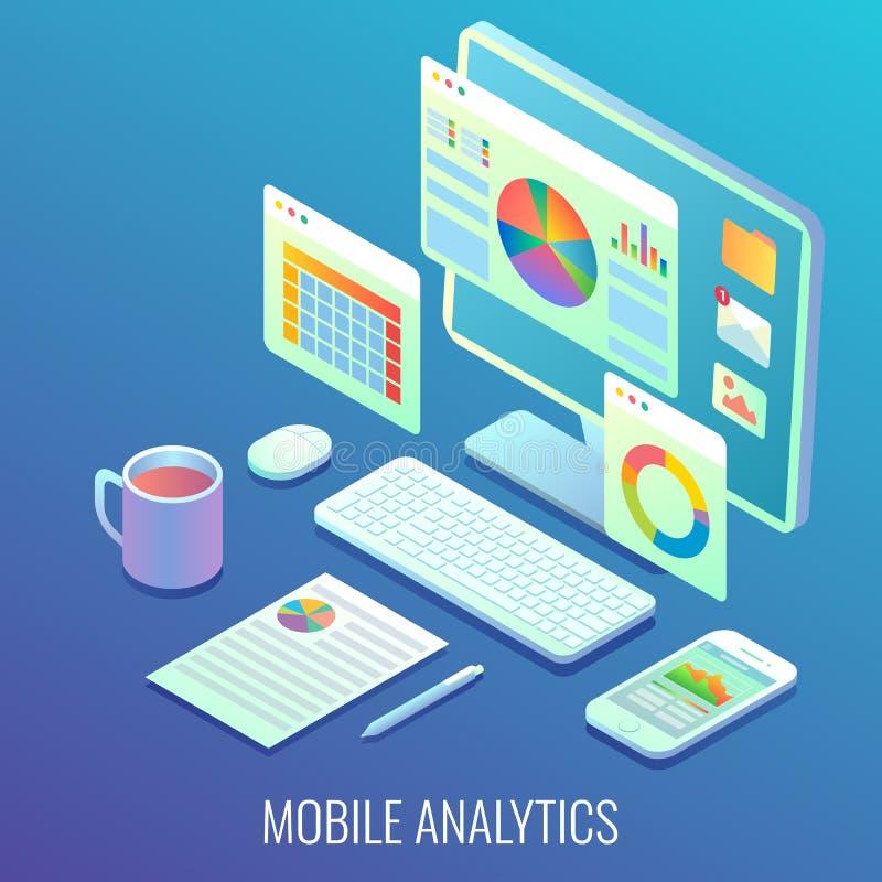 Illustrazione isometrica piana di web di analisi dei dati di vettore mobile di concetto illustrazione vettoriale