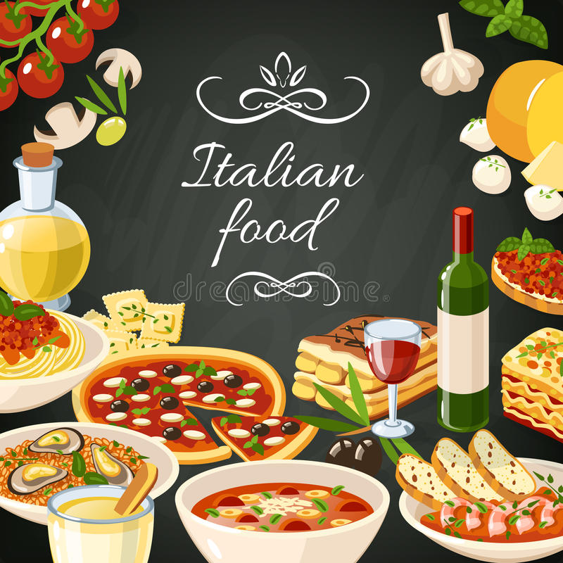 Illustrazione italiana dell'alimento illustrazione vettoriale