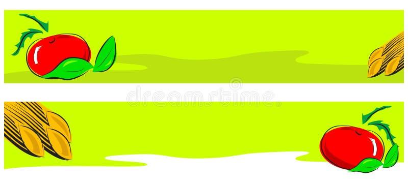 Illustrazione italiana dell'alimento - bandiera di Web illustrazione di stock