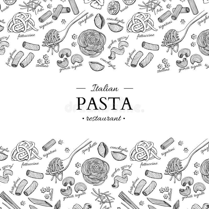 Illustrazione italiana dell'annata di vettore del ristorante della pasta Insegna incisa disegnata a mano illustrazione di stock