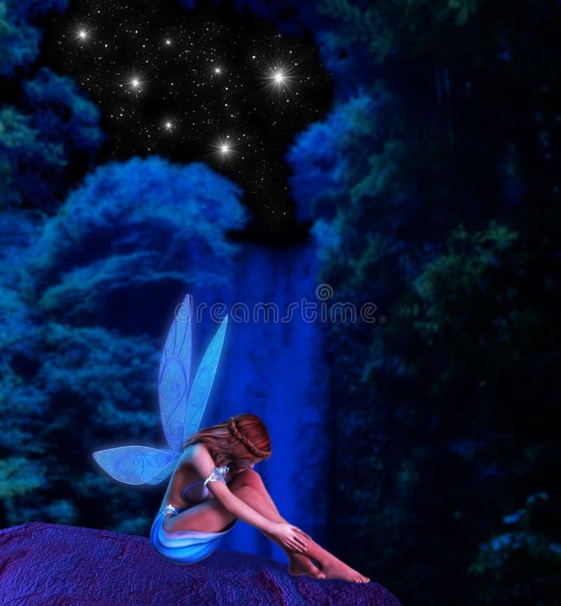 Illustrazione leggiadramente di notte stellata della cascata illustrazione di stock